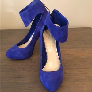 Jessica Simpson Blue Heels with Ankle Wrap